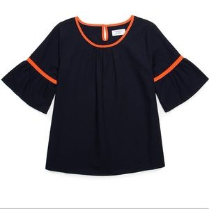 Crown and ivy navy and orange bell sleeve shirt